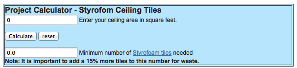 Project Calculator Foam Ceiling Tiles