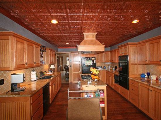 Faux Copper Ceilings in a Kitchen - Copper Ceiling Tiles - An Overview - Copper  Ceilings - Copper Ceiling IDI Design