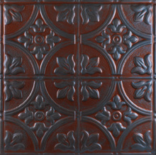 Red Ceiling Decoration, Queen Victoria 1204- Aluminum Ceiling Tile - Red Metal