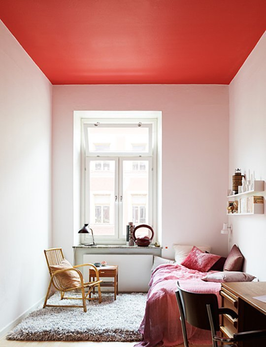 Red Bedroom Ceiling Decoration