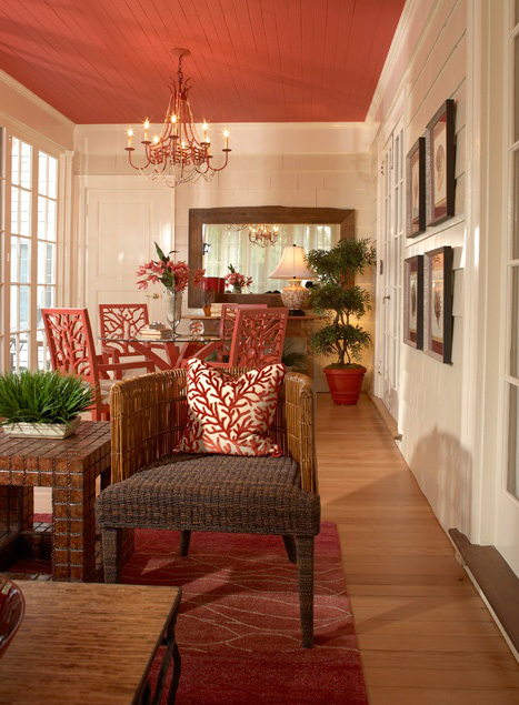 Red Ceiling Living Room Decoration
