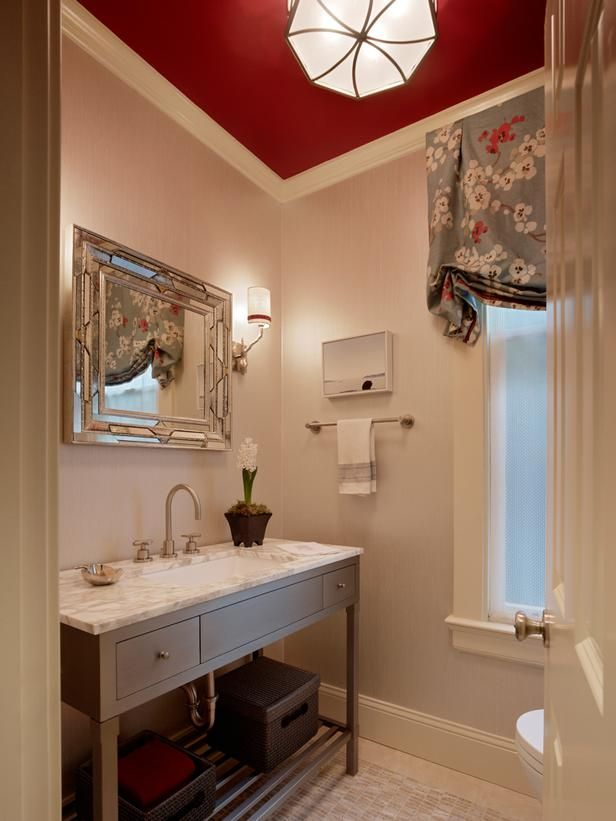 Red Powder Room Ceiling Decoration