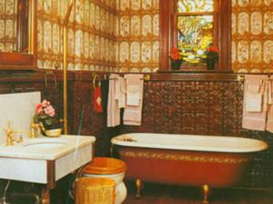 Copper Tile Wainscott in a Bathroom