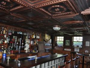 copper ceilings in a basement bar