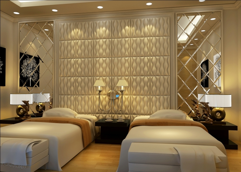 faux leather decorative tiles decorative wall in a luxury hotel room
