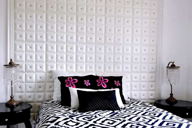 Guest Bedroom - Vanilla Ice Season 4, Faux Leather Decorative Tiles