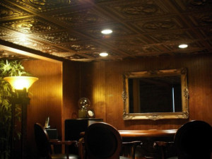 copper ceilings in a man cave basement