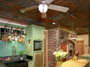 Solid Aged Copper Ceiling Tiles in a Kitchen
