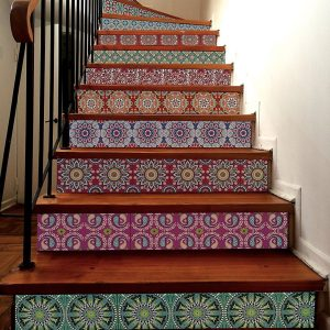 Decorative Tile Stickers on Stairs